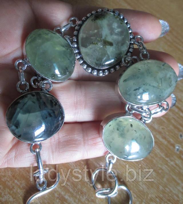 купить серебряный браслет натуральный пренит украшения серебро шерл турмалин