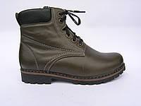 Ботинки подростковые кожаные Lider Club 5002 олива