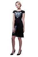 Вышитое платье Роксолана черное с серым