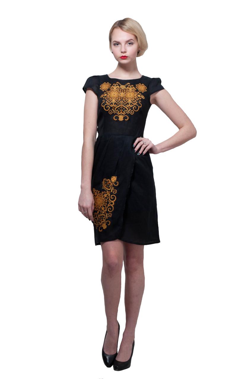 Вышитое платье Роксолана черное с золотым