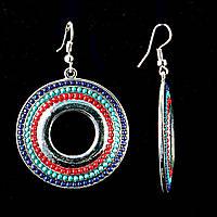 """Серьги-подвески """"Конго"""" кольца\ красные,зеленые,синие бусины по кругу металл под серебро\40мм"""
