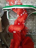 Шторы нити кисея однотонные блистер с бусинами красные №17  НОВИНКА!