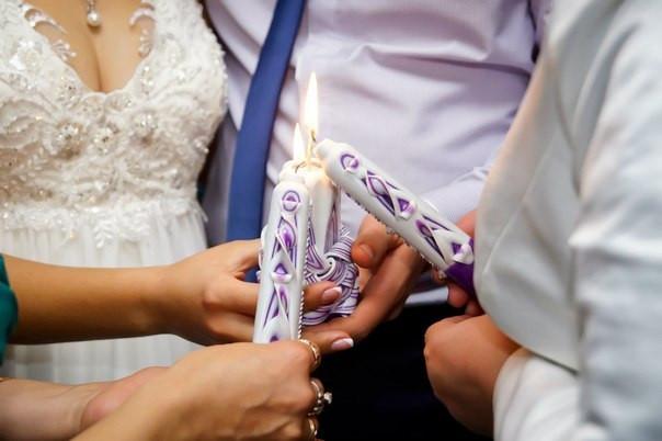 Фиолетовый свадебный набор свечей из 3 штук.
