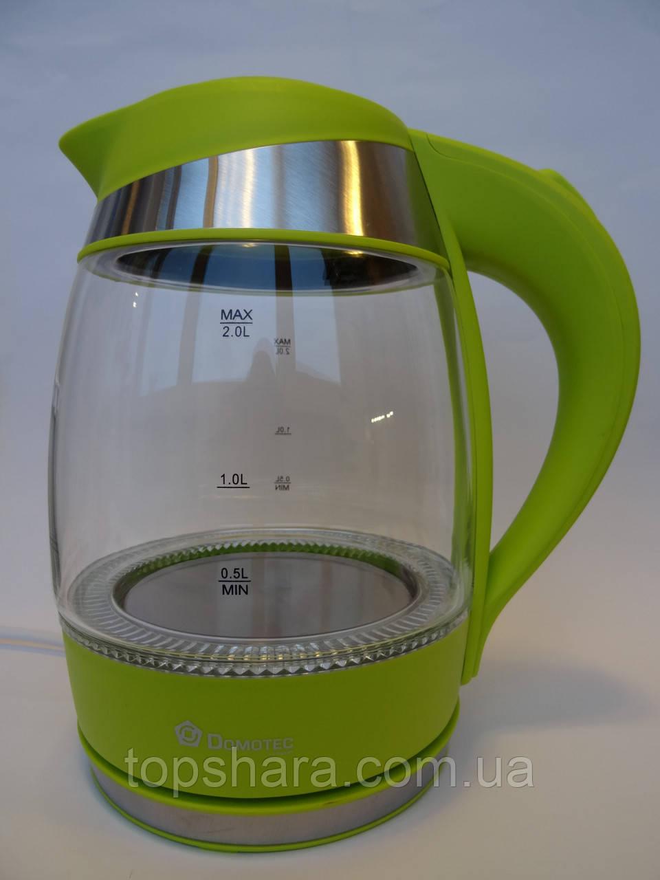 Электрочайник Domotec DT-707 чайник 2.0 л. Салатовый