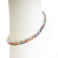 Яркий Браслет на резинке на ногу двухрядный стразы разноцветные  летние цветочные оттенки