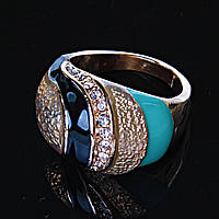 Перстень пышный слои страза эмаль