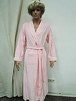 Халат женский длинный велюр розовый Marilyn