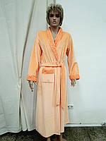 Халат женский длинный велюр абрикосовый Marilyn