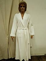 Халат женский длинный велюр кремовый Marilyn
