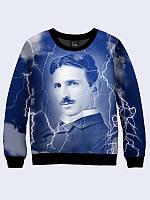 Классный женский свитшот Tesla с изображением известного изобретателя XXS