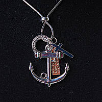 Подвеска на затяжном металлическом шнурке Якорь и крестик металлик