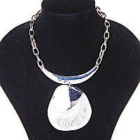 Металлическая цепь на шею со вставкой и подвеской Silver