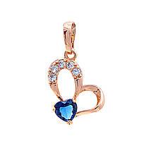 Кулон Xuping Бабочка, крупный страз синее сердце и мелкие белые стразы,цвет золото