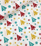 Новогодняя ткань польская елочки разноцветные