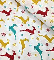 Новогодняя ткань польская олени разноцветные