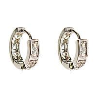 Xuping. Серьги круглые серебряного цвета с вставками из страз