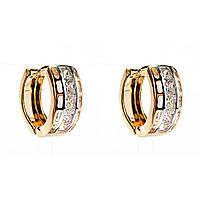 Xuping. Серьги круглые золотого цвета со вставкой из страз по центру изделия и прорезями по бокам