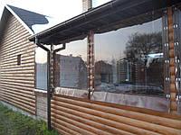 Прозрачные ПВХ шторы для деревянной веранды дома, фото 1