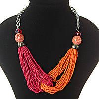 [2-20 мм] Ожерелье на цепочке с украшением из бисера красный и оранжевый цвет бусин различных размеров, светлый металл и чешское стекло рубиновое