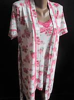 ЖІночий комплект:халат і ночнушка з трояндами