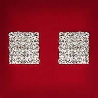 [20 мм] Серьги женские белые стразы светлый металл свадебные вечерние гвоздики (пуссеты) квадрат крупные