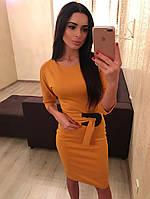 Платье трикотажное силуэтное с поясом 462 (БУМ)