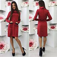 Платье ангора hi-low с кожаной отделкой карманов 449 (БУМ)