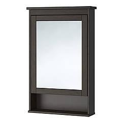 HEMNES Шкаф с зеркалом и дверцами, морилка черно-коричневая 302.176.73