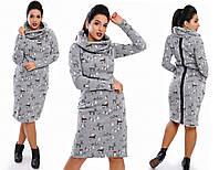 Платье - туника на флисе с воротником - снуд 3391 Норма! (НАТ)