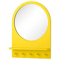 SALTRÖD Зеркало с полкой и крючками, желтый