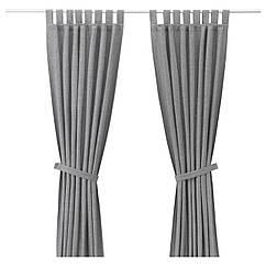 Гардины IKEA LENDA 2 шт с обвязкой серый 003.191.78