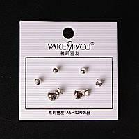 [5 мм] Серьги денежные мешки шарики страза Silver