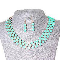 [25х7 серьги мм.] Набор ожерелье + серьги Ягодки, металл Gold и глянец  аквамарин