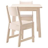 NORRÅKER / NORRÅKER Стол и 2 стула, белый береза, белый береза