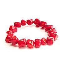 [10 см] Браслет на резинке красный Коралл крупные камни