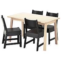NORRÅKER / NORRÅKER Стол и 4 стула, белый береза, черный