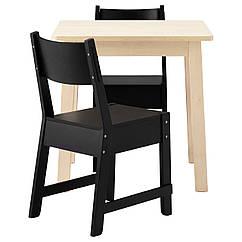 NORRÅKER / NORRÅKER Стол и 2 стула, белый береза, черный 191.615.35