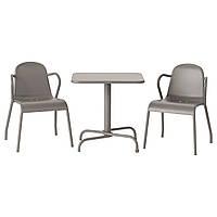TUNHOLMEN Стол, 2 стула, на открытом воздухе, серый