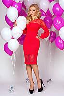 Платье миди 889 красное нарядное приталенного кроя с пышным рукавом и гипюровыми вставками