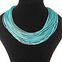 [2 мм] Ожерелье бирюзовое веревочные нити плотные, магнитная застежка сзади