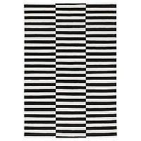 STOCKHOLM Ковер, безворсовый, ручная работа, черный в полоску, кремовый в полоску, черный/белый сломана