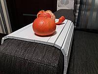 Деревянная накладка-столик на подлокотник дивана (белый) #2i2ua