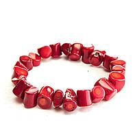 [10 см] Браслет на резинке красный Коралл средние камни