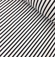 Хлопковая ткань польская полоска черная