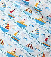 Хлопковая ткань польская кораблики голубые