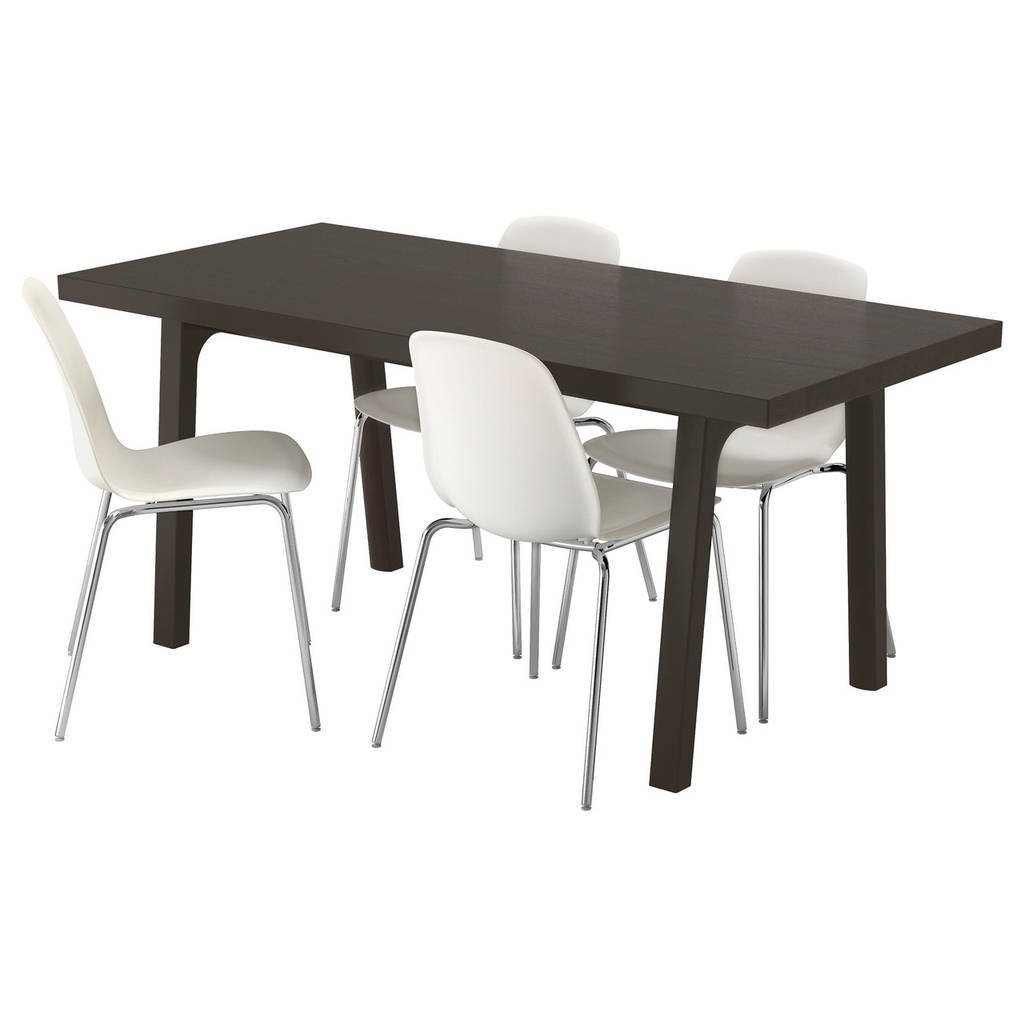 VÄSTANBY/ VÄSTANÅ / LEIFARNE Стол и 4 стула, темно-коричневый, белый