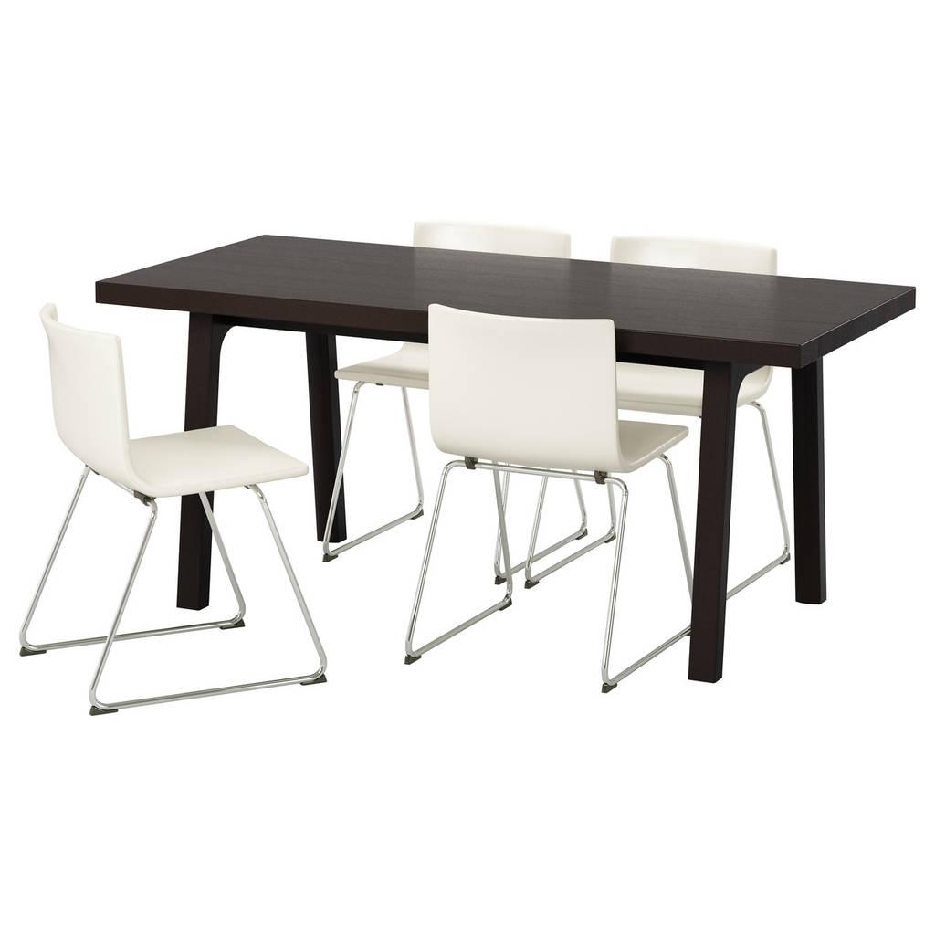 VÄSTANBY/ VÄSTANÅ / BERNHARD Стол и 4 стула, темно-коричневый, Кават белый