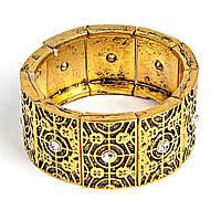 [6см] Браслет женский, широкий, геометрический декор, украшен камнями