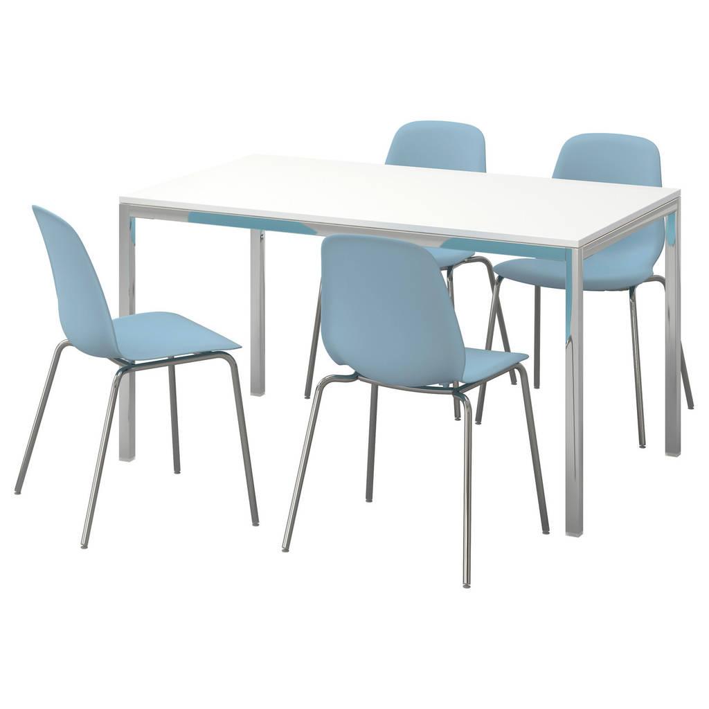 TORSBY / LEIFARNE Стол и 4 стула, глянец, белый, светло-голубой
