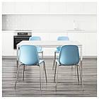 TORSBY / LEIFARNE Стол и 4 стула, глянец, белый, светло-голубой, фото 2